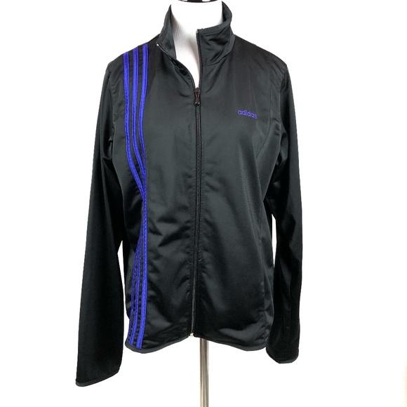 e9e3549aa320 adidas Jackets   Blazers - Adidas black purple stripe track jacket